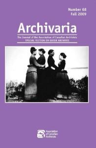 Archivaria Queer Issue Cover